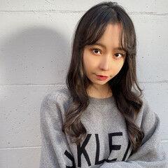 韓国ヘア センター分け ロング 大人かわいい ヘアスタイルや髪型の写真・画像