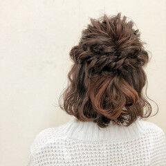 パーティ 編み込み 二次会 くるりんぱ ヘアスタイルや髪型の写真・画像