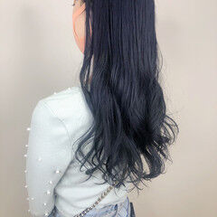ロング コリアンネイビー 韓国ヘア ネイビーブルー ヘアスタイルや髪型の写真・画像