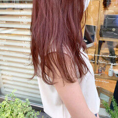 ナチュラル ロング レッドブラウン レッド ヘアスタイルや髪型の写真・画像
