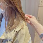 ハイライト インナーカラー セミロング 髪質改善トリートメント
