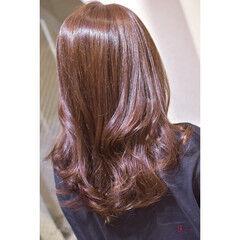 ロング コーラルピンク コーラル 韓国ヘア ヘアスタイルや髪型の写真・画像