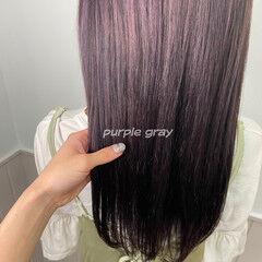 ピンクベージュ ナチュラル パープルカラー パープル ヘアスタイルや髪型の写真・画像