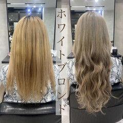 ロング 韓国風ヘアー ハイトーンカラー ナチュラル ヘアスタイルや髪型の写真・画像