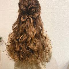 編み込みヘア ヘアアレンジ りぼん フェミニン ヘアスタイルや髪型の写真・画像