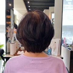 小顔 美シルエット ショート 絶壁カバー ヘアスタイルや髪型の写真・画像