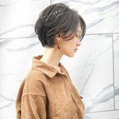 ミニボブ デートヘア ワンカールスタイリング フェミニン ヘアスタイルや髪型の写真・画像