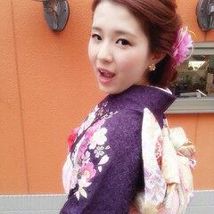 振袖 ヘアアレンジ ロング 花 ヘアスタイルや髪型の写真・画像
