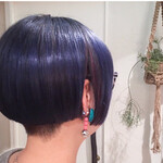 ネイビーカラー ナチュラル 髪質改善 ミニボブ