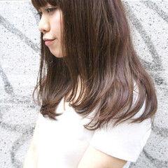 マーメイドアッシュ ナチュラル ミディアム ピンク ヘアスタイルや髪型の写真・画像