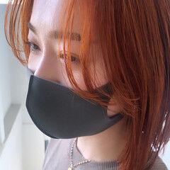オレンジブラウン オレンジカラー ボブ 切りっぱなしボブ ヘアスタイルや髪型の写真・画像