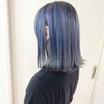 ダブルカラー ミディアム 透け感 ブルー