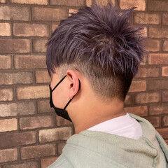 メンズショート ブリーチ ラベンダーアッシュ ショート ヘアスタイルや髪型の写真・画像