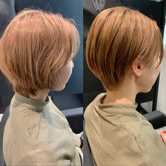 耳かけ 小顔ショート ナチュラル ショートヘア ヘアスタイルや髪型の写真・画像