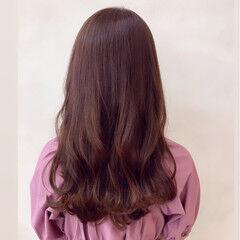 ピンク デート セミロング フェミニン ヘアスタイルや髪型の写真・画像