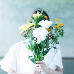 結婚式 花嫁 花 ボブ ヘアスタイルや髪型の写真・画像