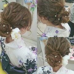 ゆるふわ お祭り ヘアアレンジ 夏 ヘアスタイルや髪型の写真・画像