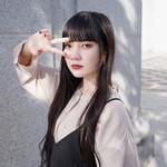 ストレート 韓国ヘア 暗髪女子 前髪