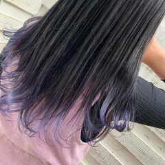 ラベンダーピンク ガーリー グラデーションカラー ロング ヘアスタイルや髪型の写真・画像
