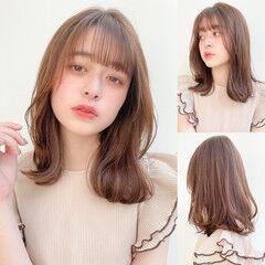 ナチュラル くびれカール 鎖骨ミディアム レイヤーカット ヘアスタイルや髪型の写真・画像