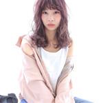 ピンクアッシュ ピンク 前髪あり フェミニン
