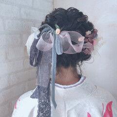 卒業式 リボン ボブアレンジ ボブ ヘアスタイルや髪型の写真・画像