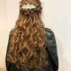 ハーフアップ ヘアアレンジ ヘアセット 結婚式 ヘアスタイルや髪型の写真・画像