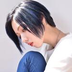 ブルー メッシュ 黒髪 モード