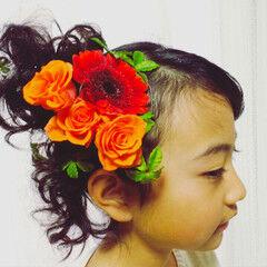 花 ミディアム 子供 ヘアアレンジ ヘアスタイルや髪型の写真・画像