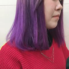 ストレート ミディアム 原宿系 パープル ヘアスタイルや髪型の写真・画像