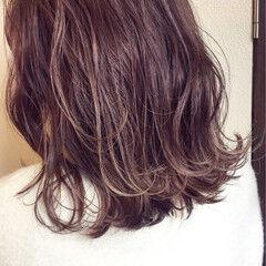 暗髪 冬 ラベンダー ナチュラル ヘアスタイルや髪型の写真・画像