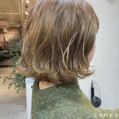 ブリーチオンカラー ナチュラル ボブ ハイトーンカラー ヘアスタイルや髪型の写真・画像