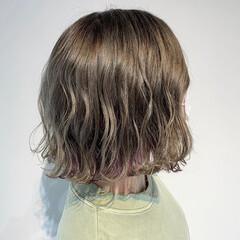 ボブ ユニコーンカラー ピンクパープル インナーカラー ヘアスタイルや髪型の写真・画像