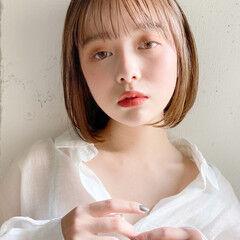 ストレート オレンジカラー ベージュ デート ヘアスタイルや髪型の写真・画像