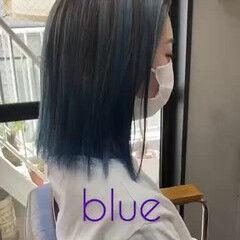 ストリート ラベンダーアッシュ ブルー ボブ ヘアスタイルや髪型の写真・画像