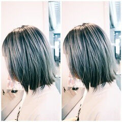 モード ミディアム ブルー ヘアスタイルや髪型の写真・画像
