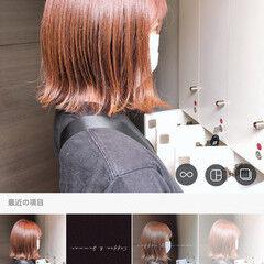 赤茶 赤髪 オシャレ ミニボブ ヘアスタイルや髪型の写真・画像