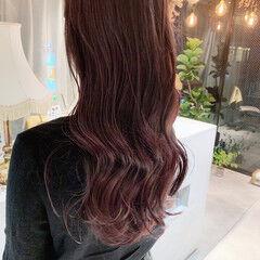 ラベンダーピンク うる艶カラー ロング 韓国ヘア ヘアスタイルや髪型の写真・画像
