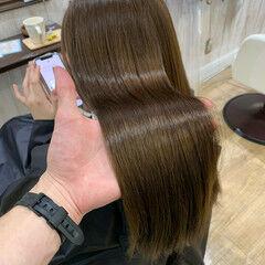 髪質改善カラー ロング 地毛風カラー ミルクティーベージュ ヘアスタイルや髪型の写真・画像