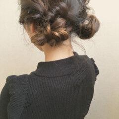 可愛い ツイン アンニュイほつれヘア フェミニン ヘアスタイルや髪型の写真・画像