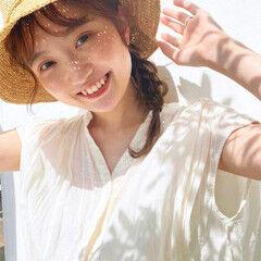 簡単ヘアアレンジ 帽子が似合う 麦わら帽子 ミディアム ヘアスタイルや髪型の写真・画像