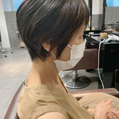 前下がりヘア 小顔 ショート 50代 ヘアスタイルや髪型の写真・画像