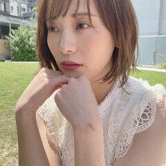 切りっぱなしボブ 韓国風ヘアー ミニボブ 韓国ヘア ヘアスタイルや髪型の写真・画像