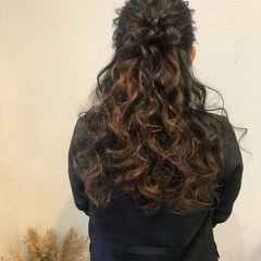 ロング ブライダル ヘアアレンジ ハーフアップ ヘアスタイルや髪型の写真・画像