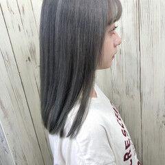 エレガント イメチェン 切りっぱなし ミディアム ヘアスタイルや髪型の写真・画像