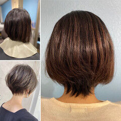 ボブ ショートボブ 毛先パーマ ショート ヘアスタイルや髪型の写真・画像