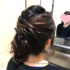 ハーフアップ サイドアレンジ ヘアアレンジ フェミニン ヘアスタイルや髪型の写真・画像