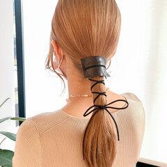 ヘアアレンジ モード 紐アレンジ ローポニー ヘアスタイルや髪型の写真・画像