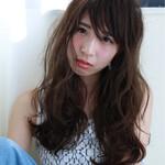 フェミニン ロング 斜め前髪 リラックス