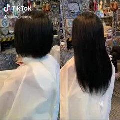切りっぱなしボブ エクステ ロング エレガント ヘアスタイルや髪型の写真・画像